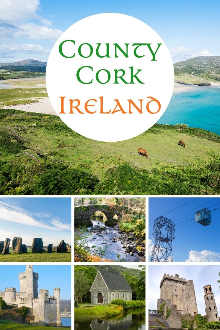 A photo collage featuring images of County Cork, Ireland including a beach, stone circle, an arched bridge, a cable car, medieval castles and an old oratory by a lake