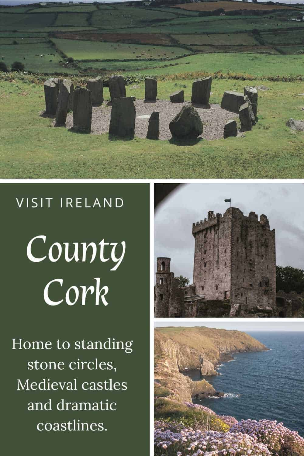 Photo collage showing Drombeg Stone Circle, Blarney Castle and the Old Head of Kinsale