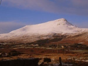 Snow covering the table mountain called Muckish Mountain in Donegal Ireland