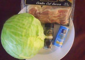 Cabbage, bacon slices, salt and pepper on a white plate
