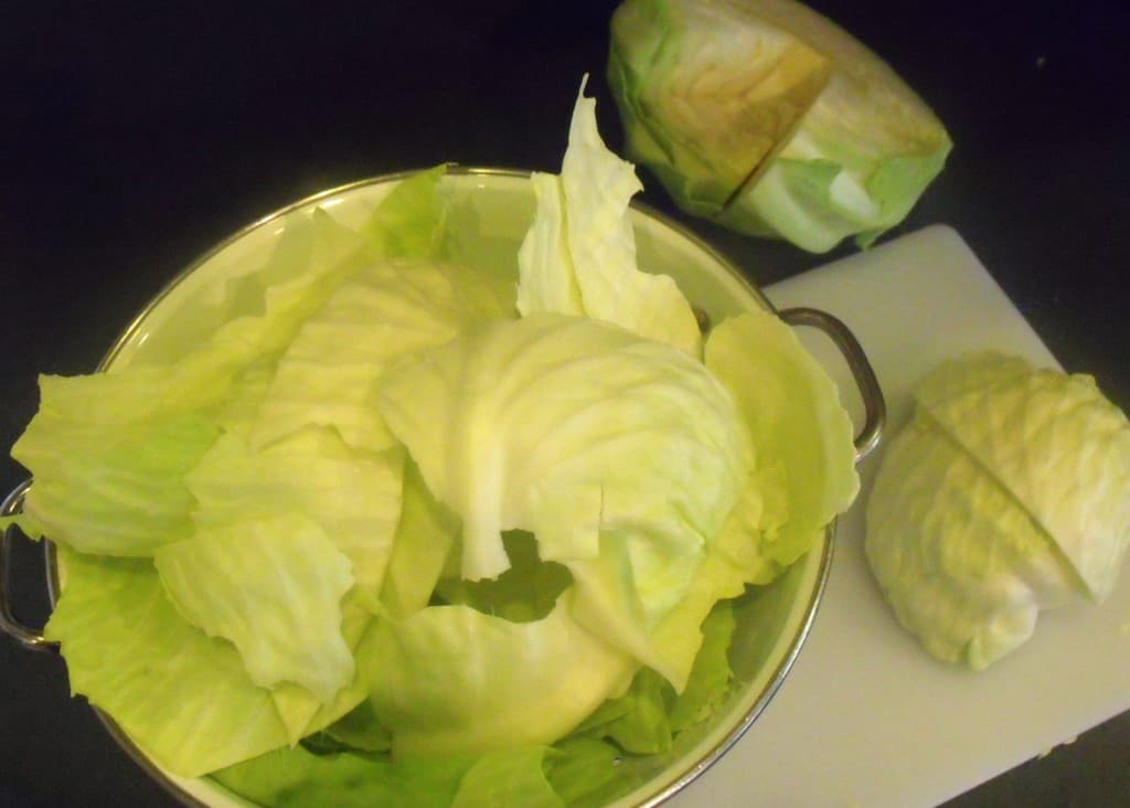 Cabbage leaves separated and in a colander for washing