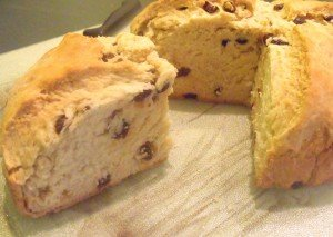 One quarter or farl from a loaf of Irish raisin soda bread