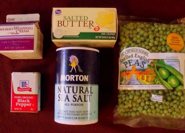 Shelled English peas, butter, salt, black pepper and whipping cream for mushy peas