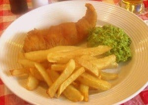 French fries or Irish style chips with mushy peas and battered fish