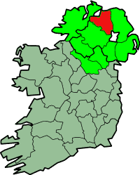 County Derry highlighted in red on a county map of Ireland showing Ulster in light green