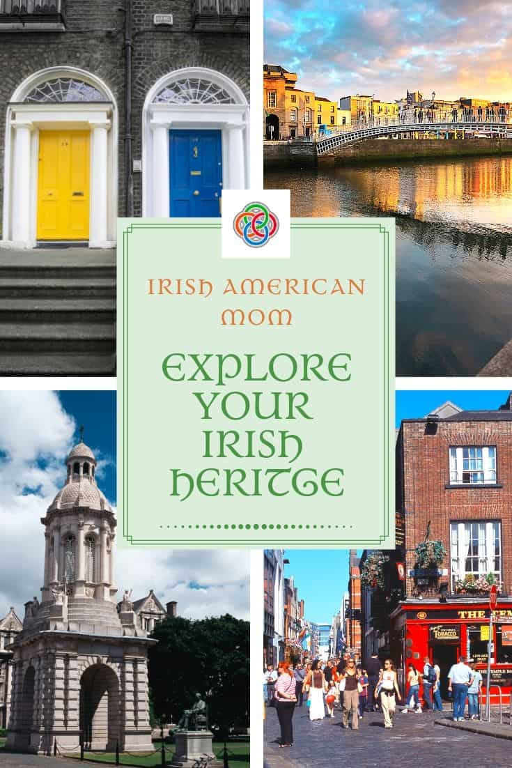 Four photo collage of Dublin Ireland with the doors of Dublin, Temple Bar, the River Liffey and Trinity College