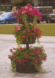 Pink flowers and ivy in a three tier flower display