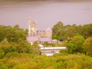 Looking down on Glenveagh Castle and lake