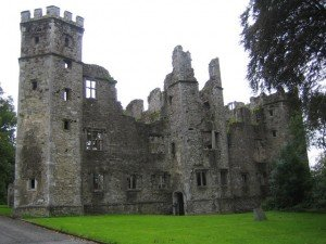 Ruined remains of an old Irish castle in County Cork Ireland
