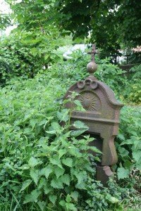 Nettles growing wild around an old headstone in a graveyard or cemetery