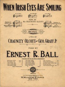 Vintage sheet music for When Irish Eyes Are Smiling by Chauncey Olcott