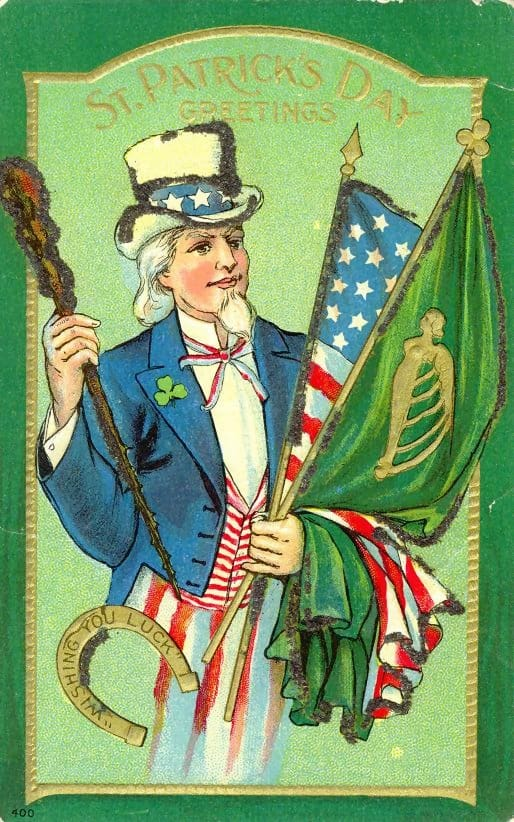 Uncle Sam holding a green flag with a harp and an American flag