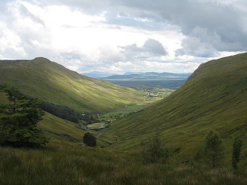 The valley in the Glengesh Pass in County Donegal Ireland