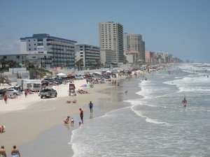Sunbathers on the beach in Daytona Beach Florida