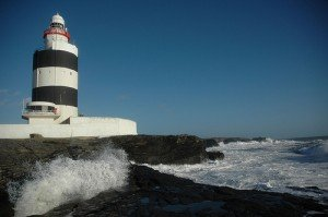 Black and white striped lighthouse at Hook Head County Wexford Ireland