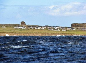 Tory island houses by the Atlantic Ocean off the coast of Donegal Ireland