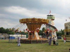 Chair-o-planes in flight at a fun fair