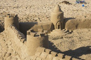 A sand castle on the beach