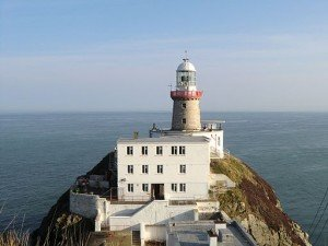 A close view of the Baily Lighthouse in Howth Ireland