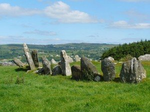 The Beltany Stone Circle on a sunny day in County Donegal