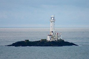 Lighthouse in the Irish Sea painted white - Tuskar Rock off the coast of Wexford