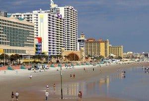 high rise buildings beside the beach in Daytona Beach Florida
