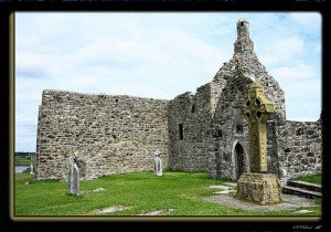 Clonmacnoise monastic site with a large Celtic Cross or High Cross