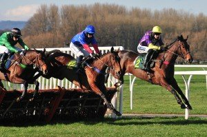 Irish jockeys guide their horses over a hurdle