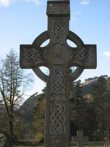A Celtic cross with Celtic knotwork in Glendalough County Wicklow