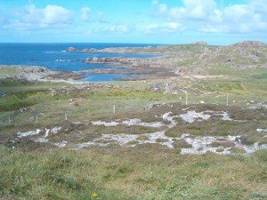 Bleak and barren landscape at Malin Head the northerly tip of Ireland