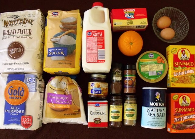 flour, sugar, spices, eggs and fruit for hot cross buns