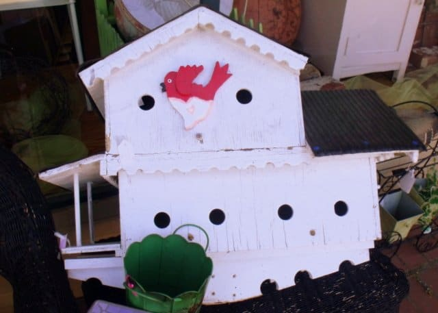 White wooden bird house