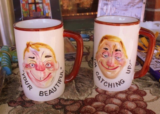 Coffee mugs with faces and text
