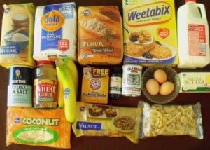 Flour, weetabix, butter, eggs milk for banana nut wholewheat muffins