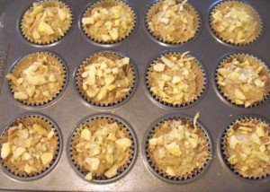 Topping uncooked muffins with dry banana chips