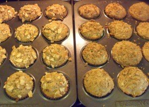 Two dozen banana nut wholewheat muffins