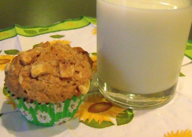 A glass of milk beside a banana wholewheat muffin