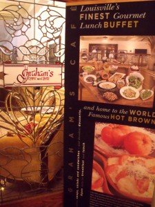 Sign in the Brown Hotel showing it is the home of the Hot Brown Sandwich