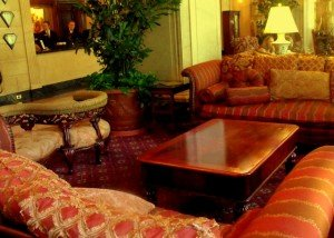 Luxurious sofas in the lobby of the Brown Hotel Louisville