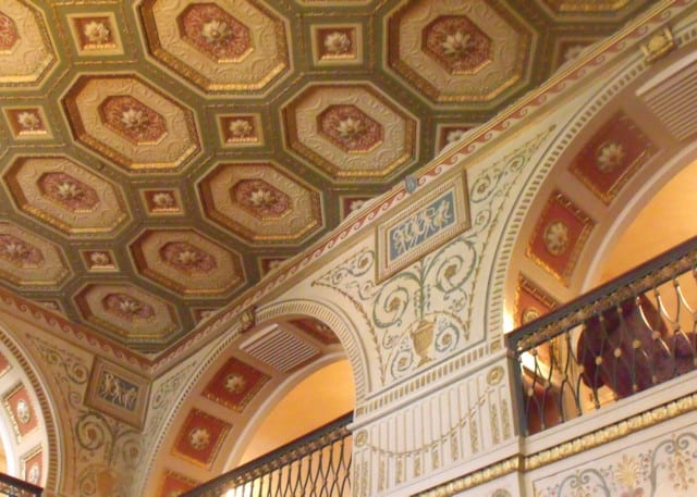 Decorated ceiling plasterwork in the lobby of the Brown Hotel