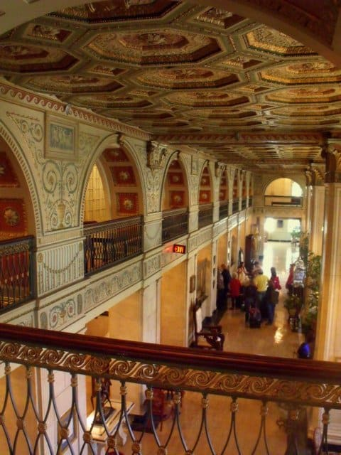 Looking down on the lobby of the Brown Hotel from the balcony