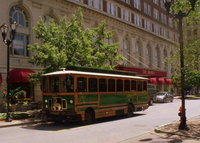 A public transit tram on a city street