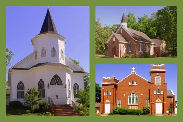 A collage showing three different country churches