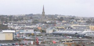 The spire of Saint Eunan's Cathedral against the skyline of Letterkenny