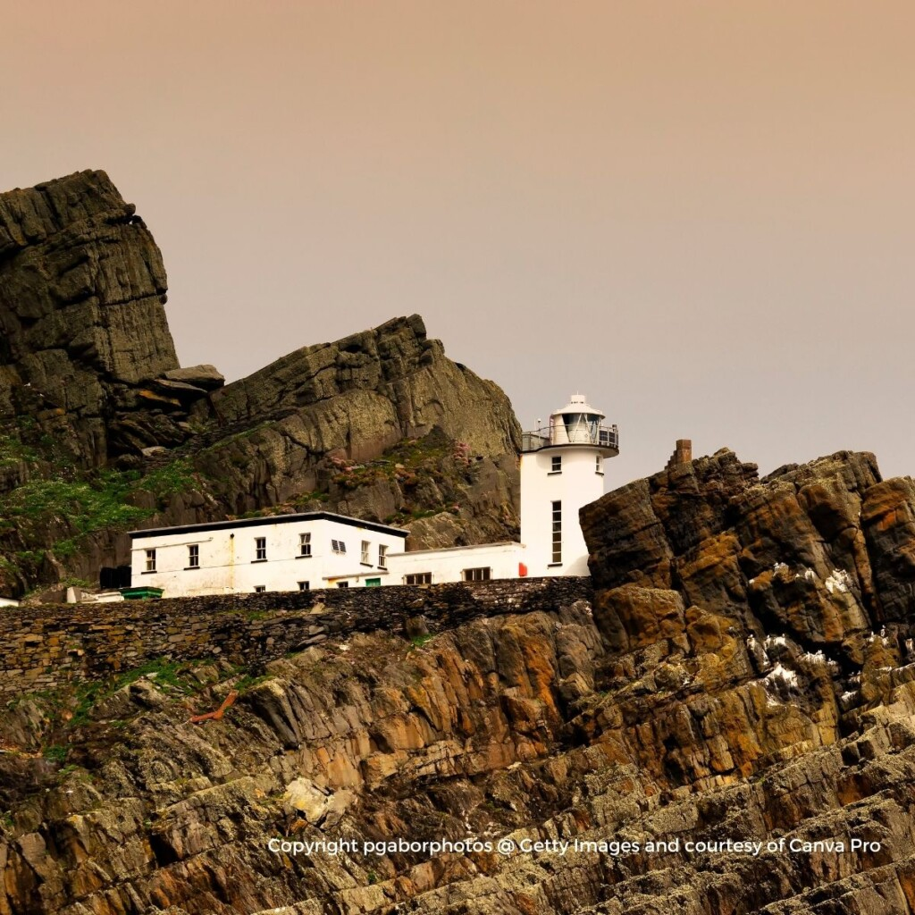 Lighthouse on top of rocky cliffs