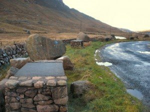 Stone picnic tables with rocks for seats in County Donegal