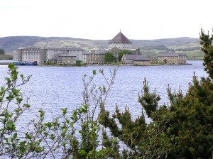 View of the island in Lough Derg County Donegal where Catholics do pilgrimage