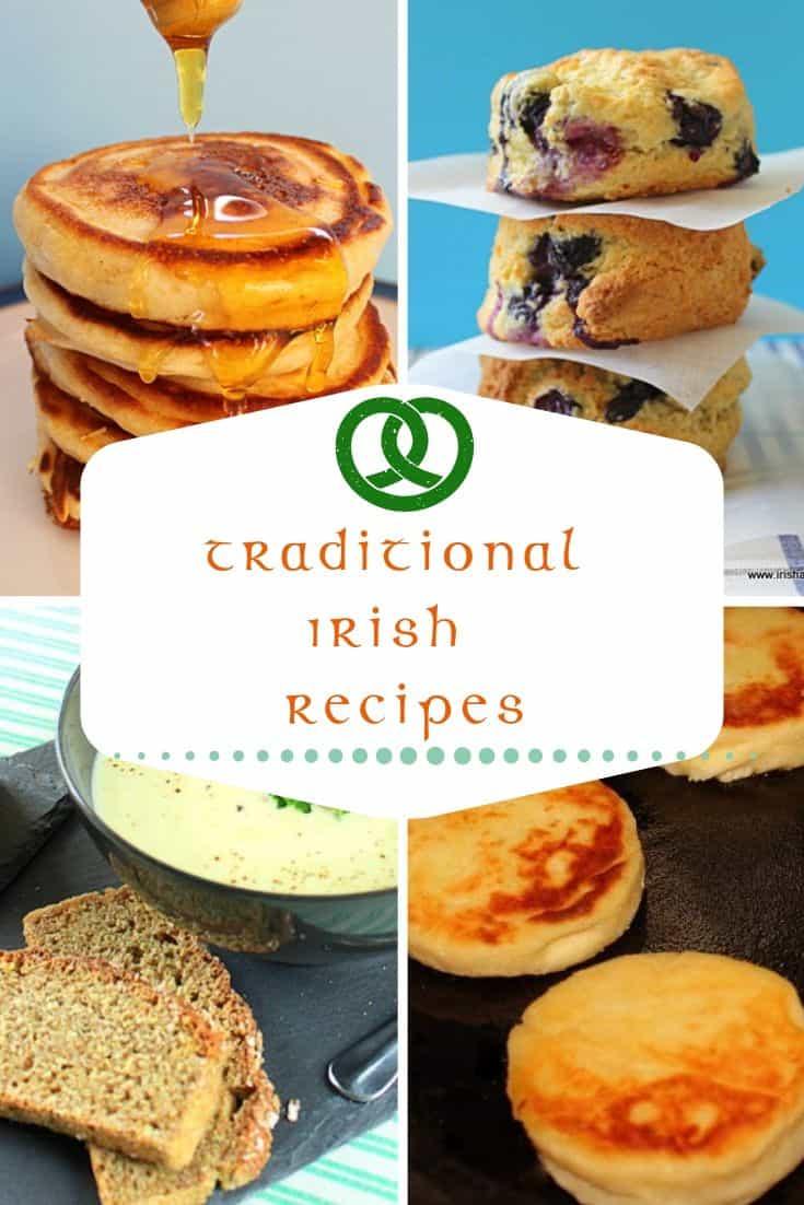 Food collage with pocket pancakes, blueberry scones, potato soup and potato cakes