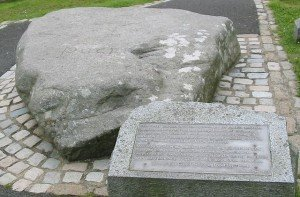Large stone over Saint Patrick's grave site in Downpatrick County Down Northern Ireland