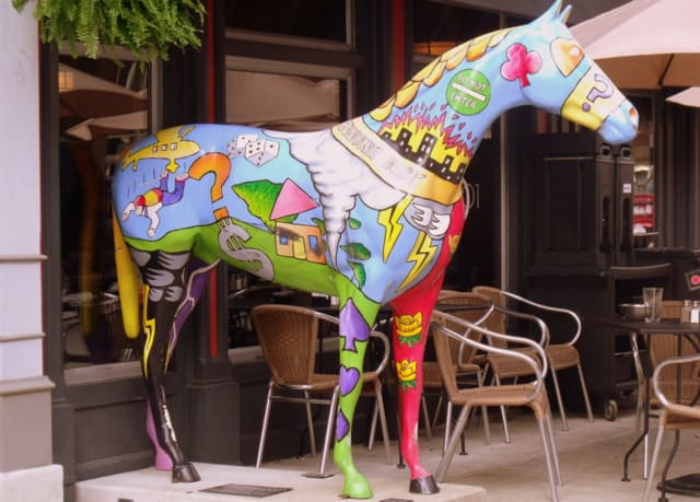 A painted horse statue